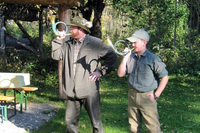 Michael Boehme and Daniel Boehme, from USAG Wiesbaden, play the Hunter's greeting.