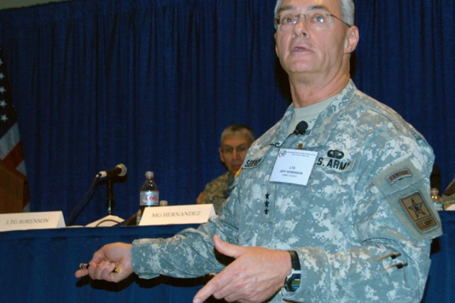 """Lt. Gen. Jeffrey Sorenson, chief information officer/G-6, address the audience during the """"Transforming LandWarNet: Implementing the Enterprise Strategy"""" panel at the Association of the United States Army Annual Meeting and Exposition, Oct."""