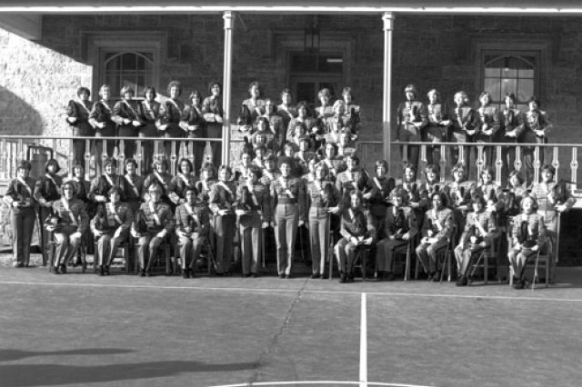 The class of 1980 women pose for a group photo. Sixty-two of the 119 women who entered West Point, July 7, 1976, became the first women graduates four years later.