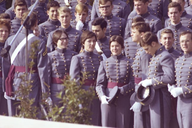 In 1976, 119 female cadets, a few of them seen here with their male counterparts, became the first women to join the Corps of Cadets at The United States Military Academy at West Point. Of the original 119, 62 graduated in 1980.