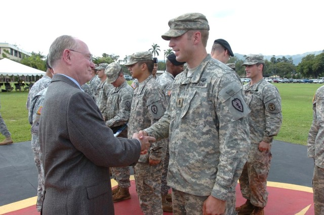 101022-A-0840A-003.jpg Lieutenant General (retired) James Benjamin Peake, former United States Secretary of Veterans Affairs, from 2007 through 2009, and 40th Army Surgeon General, congratulates 1st Lt. Michael Sudweeks, UH-60 pilot and assistant team leader, First 1st Lt. Michael Sudweeks, UH-60 pilot and assistant team leader, C Company, 3rd Battalion, 25th General Support Aviation Battalion, 25th Combat Aviation Brigade, for earning the prestigious Expert Field Medical Badge (EFMB), and pins him with the EFMB during an award ceremony at Schofield Barracks' Sills Field, Oct. 22. (Photo by Staff Sgt. Mike Alberts  25th Combat Aviation Brigade Public Affairs)