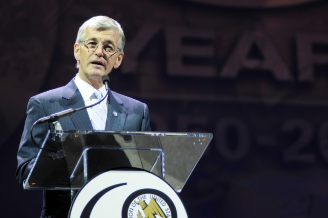 During an opening presentation at the 2010 Association of the United States Army's Annual Meeting and Exposition in Washington, D.C., Secretary of the Army John McHugh discussed the Army's challenge of operating in a constrained budget environment as well as efforts to modernize the Army.