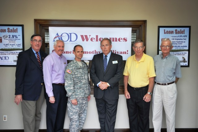 Anniston Army Depot Commander Col. Timothy Sullivan was greeted Oct. 12 by community leaders and depot employees at a reception in his honor hosted by AOD Federal Credit Union in Bynum.