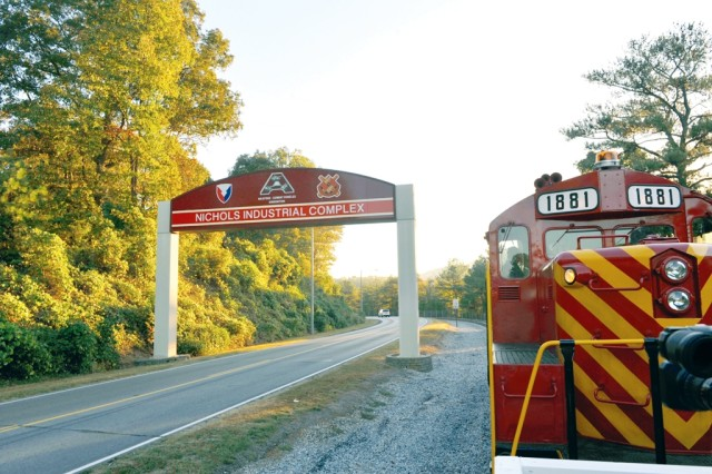 Anniston Army Depot's LMP Train arrives at the Nichols Industrial Complex Oct. 21.