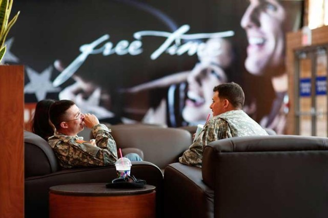 Soldiers enjoy the relaxed atmosphere at the Post Exchange. The opening of Freedom Crossing makes Fort Bliss' Post Exchange the only open-air shopping center on a U.S. military installation.