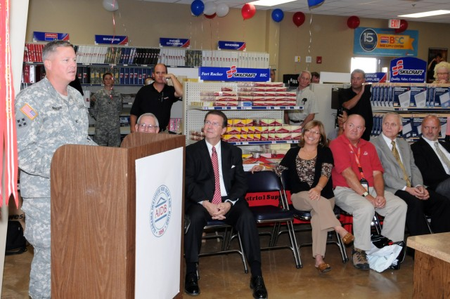 Col. James A. Muskopf, Fort Rucker garrison commander, addresses attendees during the grand reopening of the Fort Rucker Base Supply Store Oct. 20. The store, located at 1332 Night Hawk Street, employs individuals who are legally blind or severely disabled.