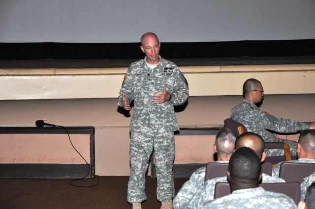 Colonel Frank Tate, commander, 25th Combat Aviation Brigade, addresses a crowd of senior enlisted Soldiers a day after taking command of the CAB during an introductory briefing at the Sgt. Smith Theater on Schofield Barracks, Oct. 22