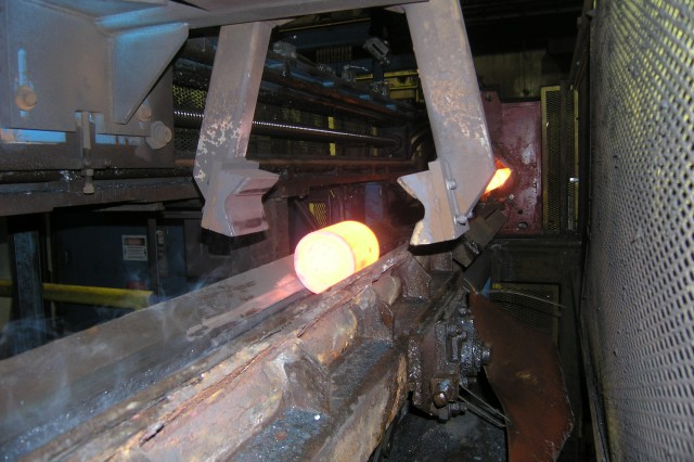 A hot piece of steel as seen from the inside of an electric induction heater at Scranton Army Ammunition Plant.