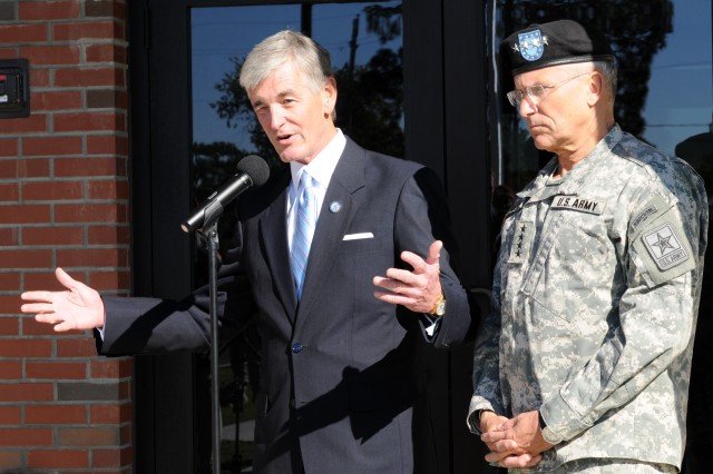 Secretary of the Army John McHugh and Army Chief of Staff Gen. George Casey Jr. held a press conference during their visit to Fort Bragg Oct. 29. One of the subjects they discussed was the XVIII Airborne Corps' upcoming deployment to Iraq.  Photo by Stephenie Tatum/Paraglide
