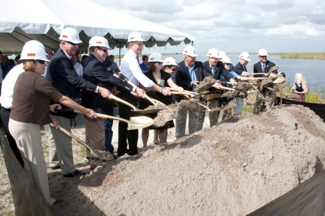 Federal state and local officials break ground on Site 1 Impoundment project