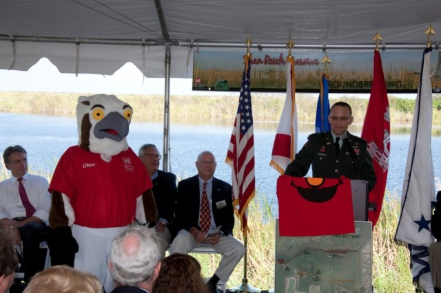 Col. Pantano introduces Okee at Site 1 Impoundment Project groundbreaking