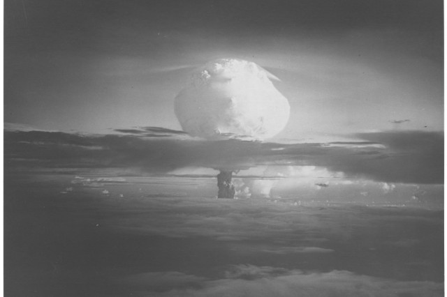 """The mushroom cloud from the first hydrogen bomb test, codenamed """"Mike,"""" rose to 40,000 feet-or the height of thirty-two Empire State Buildings.  The thermonuclear device created the most destructive effects ever noted from a single explosive weapon.  The test island of Elugelab completely disappeared."""