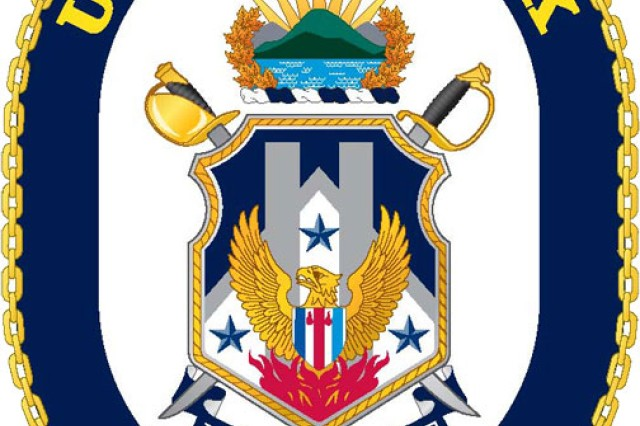 The coat of arms for the USS New York was designed by TIOH. The ship that it represents was made of recycled steel from the World Trade Centers, represented in gray columns.