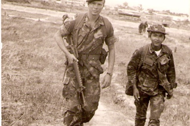 Then 2nd Lt. Charles C. Campbell, commander of a special operations A-Detachment in Vietnam, sets out on a mission in 1971.