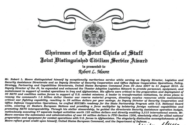 Robert L. Moore's Joint distinguished Civilian Service Award citation.