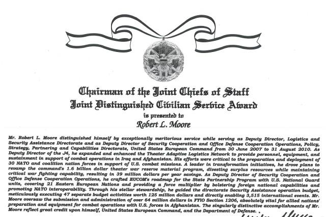 Robert L. Moore's Joint distinguished Civilian Service Award citation.