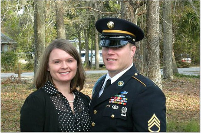 SFC Scot Noss and his wife, RyAnne, are pictured in February 2007, one week before his helicopter crash in Afghanistan.