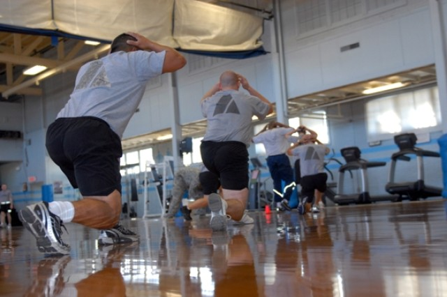 Physical therapy patients engage in MAMC's Functional Knee and Ankle Class at Keeler Sports & Fitness Center, Oct. 5.