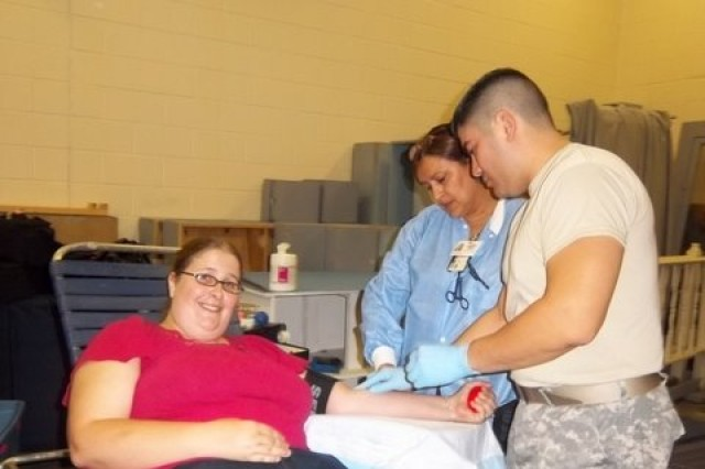 Volunteers from McGregor ROTC program organized a blood drive to support deployed troops.