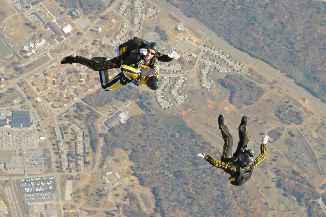 More than 30 student jumpers were selected to tandem skydive with the Golden Knights last week at Fort Knox.