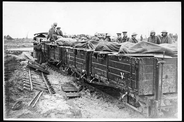 Dead and wounded Soldiers are evacuated by 2-foot-gauge train in France.