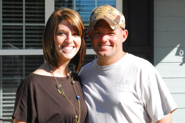 Staff Sgt. Chance Vaughn and his wife, Jennifer, pictured outside a Crawford, Ala., home minutes from Treebark Taxidermy, where Chance is learning the tricks of the trade from taxidermist Freddy Wynn. Wynn received the inspired leadership award last month.