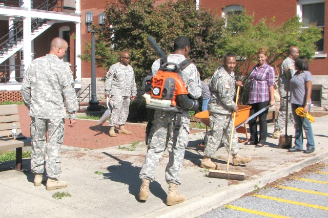 Soldiers and Civilian employees gathered Oct. 29 outside U.S. Army Garrison Headquarters (Bldg. 65) to cleanup the area surrounding the building as part of the installations' fall cleanup program. Throughout the week, Fort McPherson and Fort Gillem personnel took time to spruce up their work areas and show pride in their community.