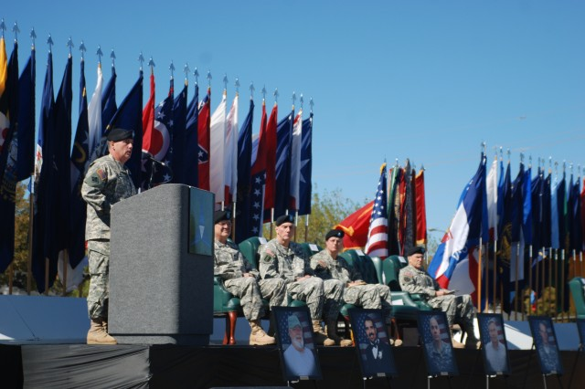 Maj. Gen. William Grimsley, Fort Hood's senior commander, addresses the crowd gathered at Fort Hood to remember those who were killed and wounded Nov. 5, 2009.
