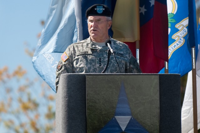 """While the pain of their loss is still strong a year removed, the memories of their lives, of their service and sacrifice, has been a source of strength for those who knew them best."" said Army Chief of Staff Gen. George W. Casey Jr., during his address to the hundreds in attendance at a Remembrance Ceremony Fort Hood, Texas, Nov. 5, 2010. The ceremony commemorated the lives of 13 people who lost their lives in a tragic shooting incident on the installation Nov. 5, 2009."