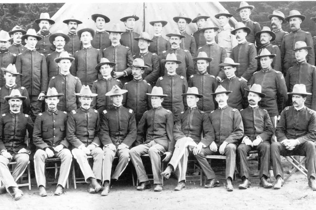 Officers from the 33rd Regiment U. S. Volunteer Infantry at the Presidio, in San Francisco, California, on September 23, 1899, only weeks before the Battle of San Jacinto in the Philippines.