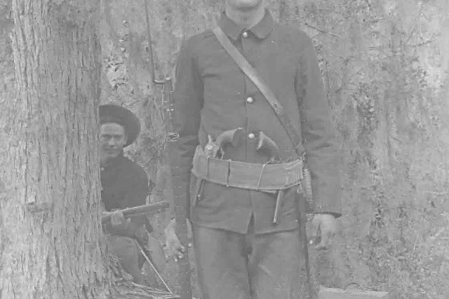 Photo of a U. S. Army Soldier presumed to be that of Private Karl Brauchle, Company C, 33rd Regiment, U. S. Volunteer Infantry, in 1898.