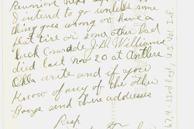 """A letter from Victor Tucker to his """"Dear Comrade"""" in the 33rd Regiment, U. S. Volunteer Infantry, Karl Brauchle.  Written May 17, 1935, decades after the Battle of San Jacinto, Tucker asks Brauchle to send any addresses of """"the other Boys,"""" he may have, for a planned reunion that September in """"San Antone."""""""