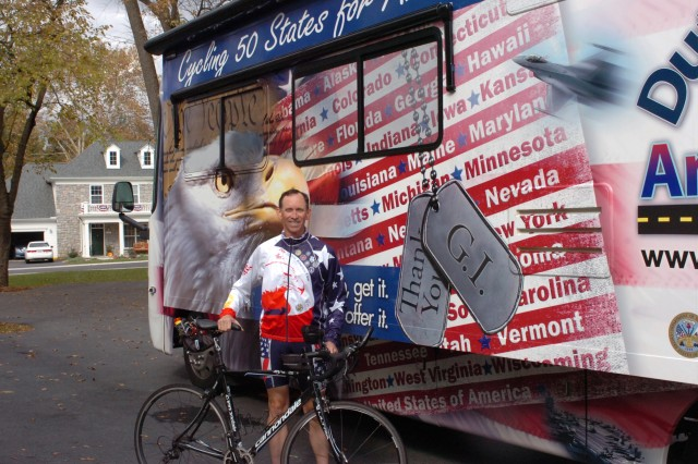 "Showing support for our military is Doug Adams, who is cycling across 50 states in a year (about the length of a deployment) culminating with the Iron Man in Hawaii, all to bring attention to our veterans and our Soldiers. After serving with the Washington National Guard and serving as an AUSA Chapter President, Doug and his wife, a fellow Army retiree, are making their way across the nation, refusing to lose track of the people who fight our wars. With 1,000 miles down and 15,000 to go, Doug's theme is, ""If you need help get it and if you can help, offer it."" Doug details his ride at www.dutyhonoramerica.com."