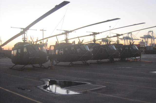 The five UH-1 helicopters at the Coastal Maritime Yard, Jacksonville, Fla.