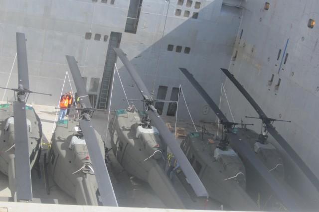 The five Hueys on board the BBC Houston.