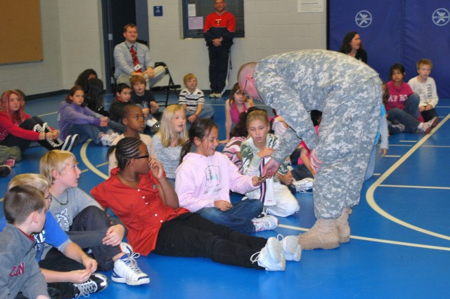 ASC Soldier greets students
