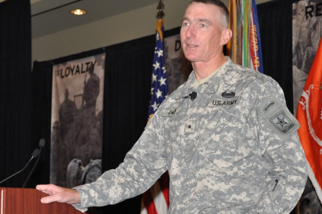 Brig. Gen. Gary Cheek, director of Military Personnel Management at the Pentagon, speaks to nearly 700 career counselors Nov. 2 at the Worldwide Retention Training Seminar in Phoenix.