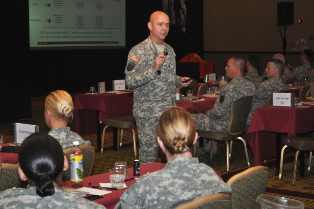 Sgt. Maj. Thomas Gills, the Army G-1 sergeant major, speaks to nearly 700 career counselors Nov. 2 at the Worldwide Retention Training Seminar in Phoenix.