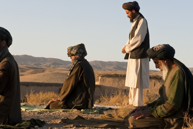 A group of Afghan men face west toward Mecca and pray, Nov. 7, 2010, in Arghistan District, Kandahar Province, Afghanistan.  (U.S. Army photo by Spc. Daniel P. Shook/Special Operations Task Force - South).