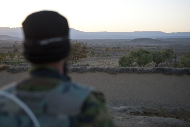 An Afghan Soldier with 3rd Commando Kandak provides security overwatch during an operation to rid insurgents from Arghistan District, Nov. 7, 2010, in Kandahar Province, Afghanistan. The Commandos are advised by Soldiers with Special Operations Task Force - South. (U.S. Army photo by Spc. Daniel P. Shook/Special Operations Task Force - South)