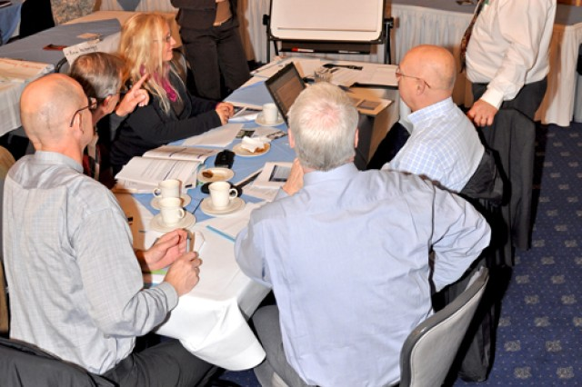 Sabine Schindler leads a planning team during the U.S. Army Garrison Wiesbaden's Strategic Planning Conference.