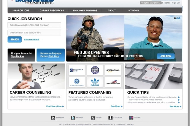 Employer Partnership of the Armed Forces program Web portal