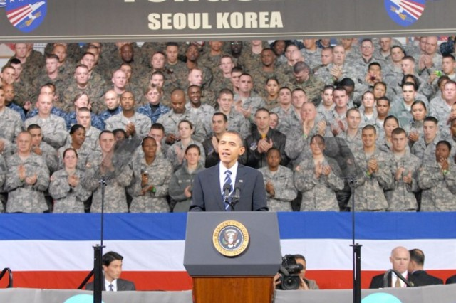 To honor the men and women in uniform, President Barack Obama takes time to meet with Servicemembers who have left family and friends behind to serve overseas, in observance of Veterans Day while at United States Army Garrison Yongsan, Nov. 11.