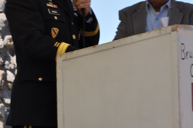"""Fort Irwin/National Training Center Commanding General Brig. Gen. Robert """"Abe"""" Abrams speaks at the Veterans Day ceremony at the Mountain View Memorial Park on Nov. 11, 2010 in Barstow, Calif."""