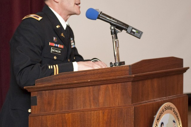 Col. Gaston Bathalon, commander of the U.S. Army Research Institute of Environmental Medicine, speaks at the Town of Natick\'s Veterans' Appreciation Dinner, held Nov. 11 at NSSC's Lord Community Center.