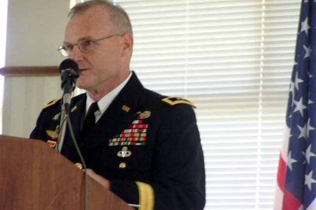 Maj. Gen. Yves J. Fontaine, commanding general of Army Sustainment Command, speaks to Des Moines, Iowa, Rotary Club members at the club's Veterans Day observance Nov. 11.