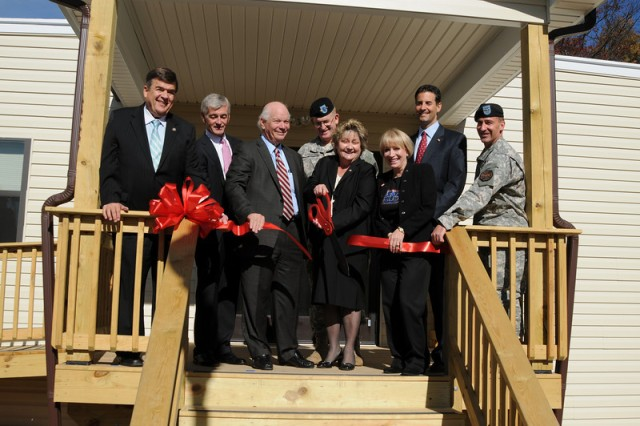 "The Warrior Transition Unit Soldier and Family Assistance Center ribbon cutting ceremony celebrated a new level of care for wounded Soldiers at Fort George G. Meade.  Dignitaries participating were Rep. C. A. ""Dutch"" Ruppersberger, Secretary of the Army John McHugh, Sen. Benjamin L. Cardin, Army Surgeon General Lieutenant General Eric B. Schoomaker, President of the Fort Meade Alliance Rosemary Budd, President of the USO Metropolitan Washington Elaine Rogers, Rep. John Sarbanes, and Fort Meade Installation Commander Col. Daniel L. Thomas."