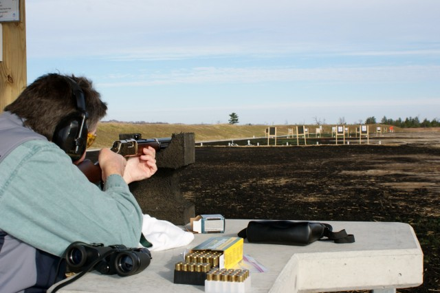 A guest at the Sportsman's Range Grand Opening Oct. 30 tries out the rifle range at the new facility.