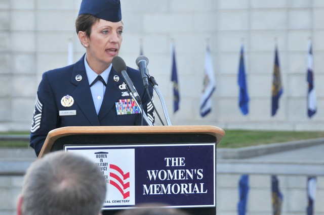 Chief Master Sgt. Denise Jelinski-Hall, the senior enlisted advisor of the National Guard, speaks to a crowd at the Women in Military Service for America speech, held at the Women's Memorial at Arlington National Cemetery Thursday, Nov. 11, 2010.