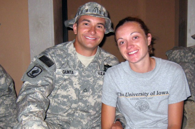 """Now-Staff Sgt. Salvatore """"Sal"""" Giunta with his now-wife Jennifer as he prepared to deploy for a second time in summer 2007 – to Afghanistan's dangerous Korengal Valley, where he would rescue a wounded friend from two enemy fighters and earn the first non-posthumous Medal of Honor since Vietnam."""